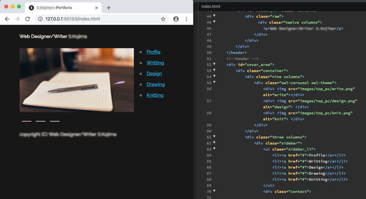 HTMLCSSコーディング画面